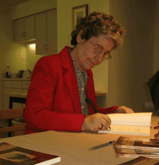Margaret Scott, acj, at a book signing event